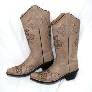 Old West Vintage Cream Heeled Boots LF1588 size 6